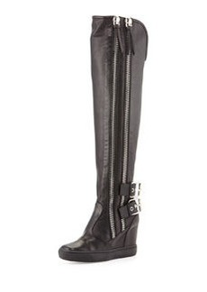 Double Zip & Buckle Knee-High Boot, Black   Double Zip & Buckle Knee-High Boot, Black