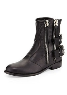 Double-Zip Moto Ankle Boot, Nero   Double-Zip Moto Ankle Boot, Nero