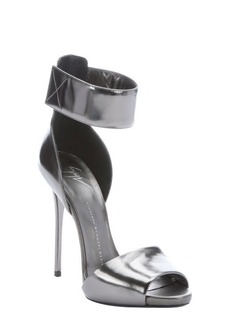 Giuseppe Zanotti anthracite leather ankle strap stiletto sandals