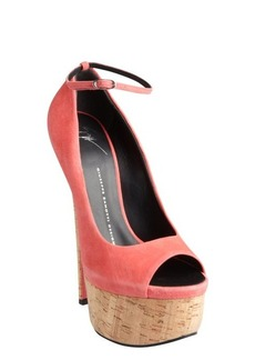 Giuseppe Zanotti azalea suede and cork platform peep toe pumps