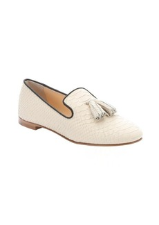 Giuseppe Zanotti beige scaled leather 'Dalila' tassel detail loafers