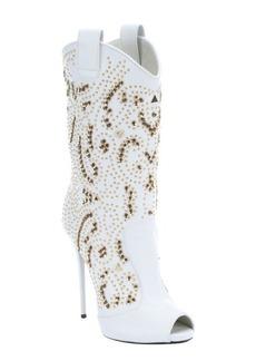 Giuseppe Zanotti bianco leather 'Coline 110' pull-on studded peep toe boots