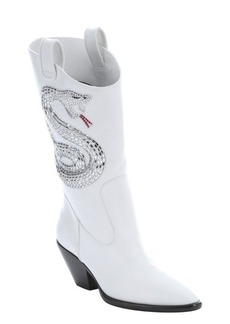 Giuseppe Zanotti bianco leather 'Guns 55' snake detail slip-on cowgirl boots