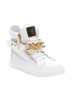 Giuseppe Zanotti bianco leather 'London' chain detail high top sneakers