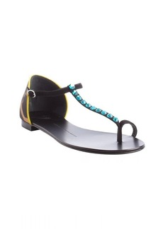 Giuseppe Zanotti black and aqua and yellow leopard print thong sandals