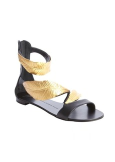 Giuseppe Zanotti black and gold leafy anklestrap flat sandals