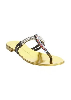 Giuseppe Zanotti black and gold leather chain and stud detail strappy sandals