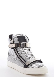 Giuseppe Zanotti black and white leather snake printed metal strap high top sneakers