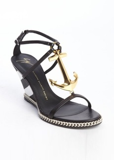 Giuseppe Zanotti black and white leather striped wedge anchor 'Coline' sandals