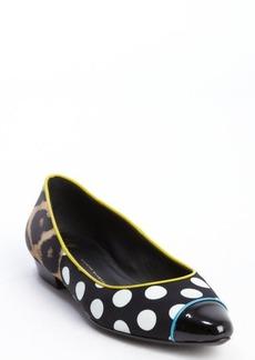 Giuseppe Zanotti black and white satin polka dot and cheetah print flats