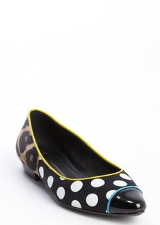 Giuseppe Zanotti black and white satin polka dot and cheetah print flats