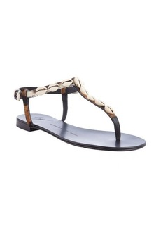 Giuseppe Zanotti black and white shell and calf hair detail thing strap sandals