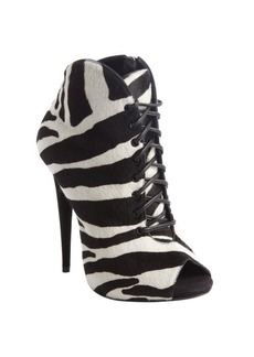 Giuseppe Zanotti black and white zebra print calf hair lace up peep toe booties