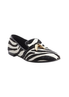 Giuseppe Zanotti black and white zebra print calf hair tooth detail loafers
