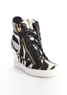 Giuseppe Zanotti black and white zebra print calf hair wedge sneakers