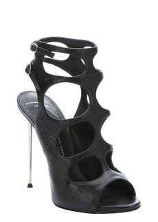 Giuseppe Zanotti black croc-embossed leather 'Coline' cutout detail stiletto sandals