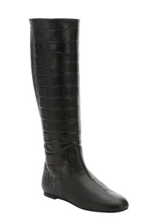 Giuseppe Zanotti black croc embossed leather rear zip boots