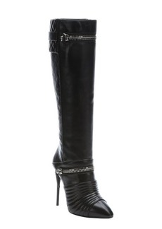 Giuseppe Zanotti black diamond quilted leather 'Olinda' knee high boots