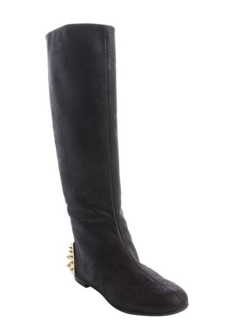 Giuseppe Zanotti black embossed stingray leather spiked cap detail boots