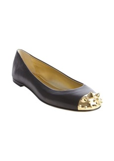 Giuseppe Zanotti black gold studded toe ballerina flats