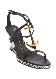 Giuseppe Zanotti black leather anchor buckle detail wedge sandals