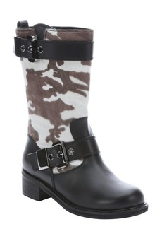 Giuseppe Zanotti black leather and camouflage calf hair boots
