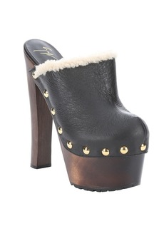 Giuseppe Zanotti black leather and shearling 'Tropez' studded platform ...