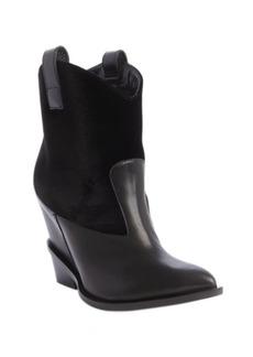 Giuseppe Zanotti black leather and velvet Western ankle boots