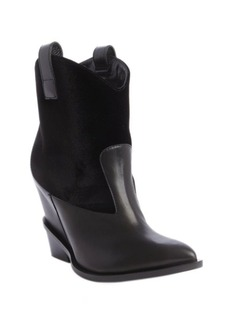 Giuseppe Zanotti black leather and velvet Western ankle boots