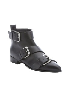 Giuseppe Zanotti black leather buckle detail side zip ankle boots