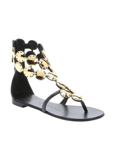 Giuseppe Zanotti black leather chain link gladiator sandals