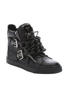 Giuseppe Zanotti black leather chain link 'London' high-top sneakers