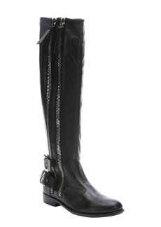 Giuseppe Zanotti black leather dual zip buckle accent moto knee high boots
