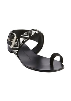 Giuseppe Zanotti black leather embellished ankle buckle detail flat sandals