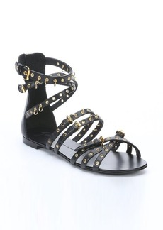 Giuseppe Zanotti black leather embellished strappy flat sandals