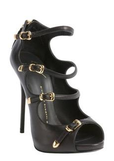 Giuseppe Zanotti black leather four buckle peep toe pumps