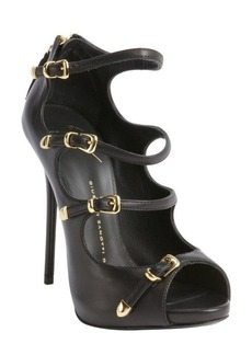 Giuseppe Zanotti black leather four buckle peep toe pumps