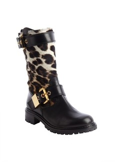 Giuseppe Zanotti black leather leopard print calf hair buckle detail boots