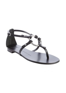 Giuseppe Zanotti black leather o-ring flat sandals