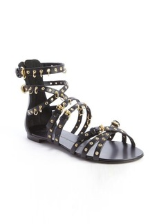 Giuseppe Zanotti black leather pierced grommet strappy sandals