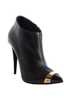 Giuseppe Zanotti black leather pointed cap toe heel booties