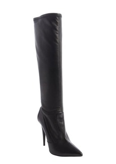 Giuseppe Zanotti black leather rear zipper detail tall boots