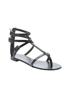 Giuseppe Zanotti black leather 'Rock 10' t-strap sandals