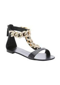 Giuseppe Zanotti black leather 'Roll' chainlink sandals