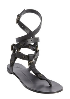 Giuseppe Zanotti black leather segmented thong gladiatrix sandals