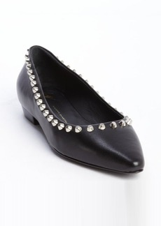 Giuseppe Zanotti black leather silver studded flats