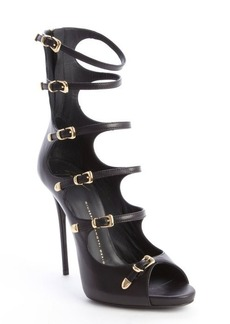 Giuseppe Zanotti black leather strappy buckle detail peep toe