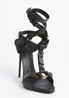 Giuseppe Zanotti black leather strappy buckle detail sandals