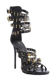Giuseppe Zanotti black leather strappy grommet and jump ring platform sandals
