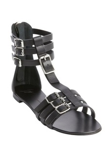 Giuseppe Zanotti black leather strappy rear zip sandals